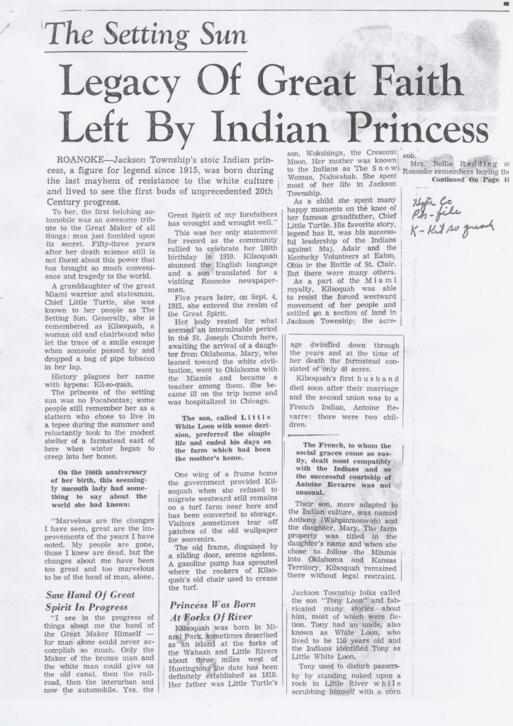 A scanned picture of Kilsoquah article -Legacy of Great Faith left by Indian Princess.