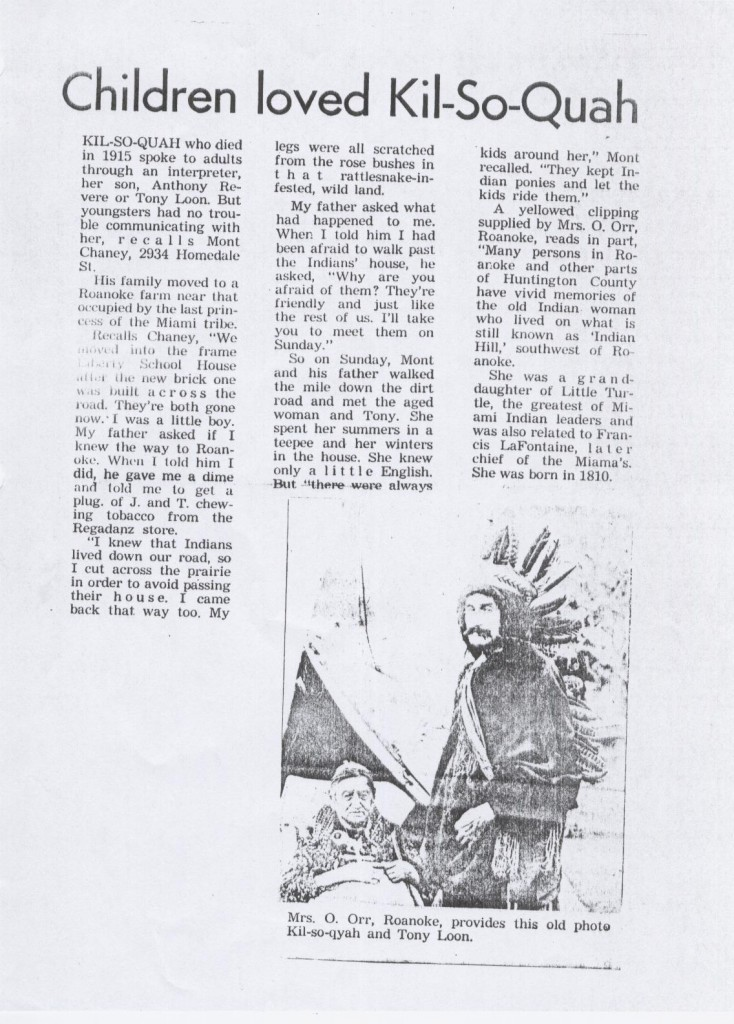 A scanned picture of Kilsoquah article -Children loved Kil-So-Quah.