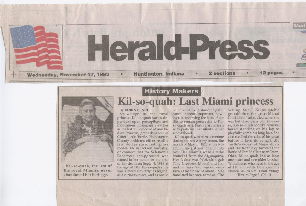 Scanned picture of Kilsoquah article in Huntington Herald-Press November 17, 1993.