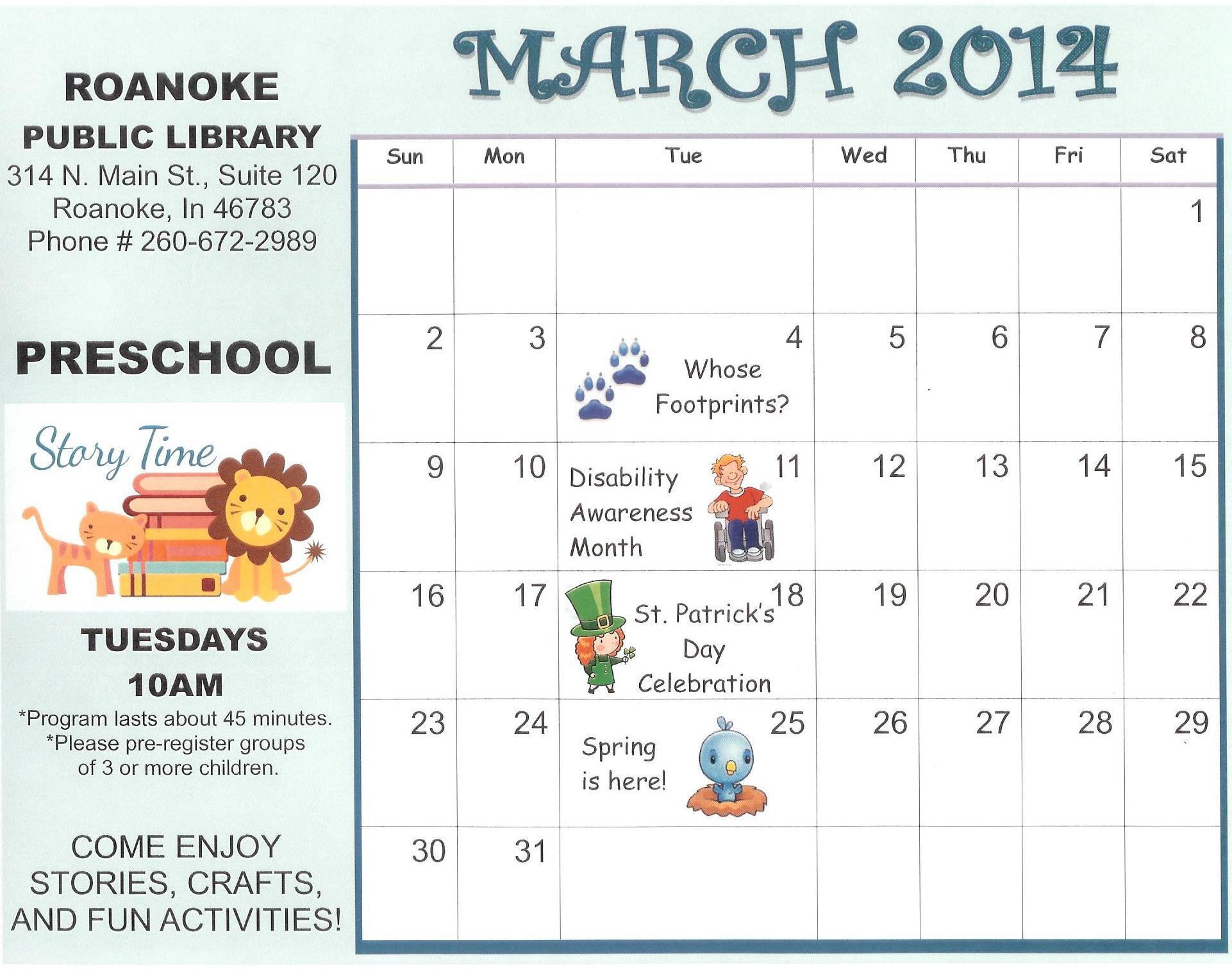 Preschool Calendar : Preschool story time calendar roanoke public library