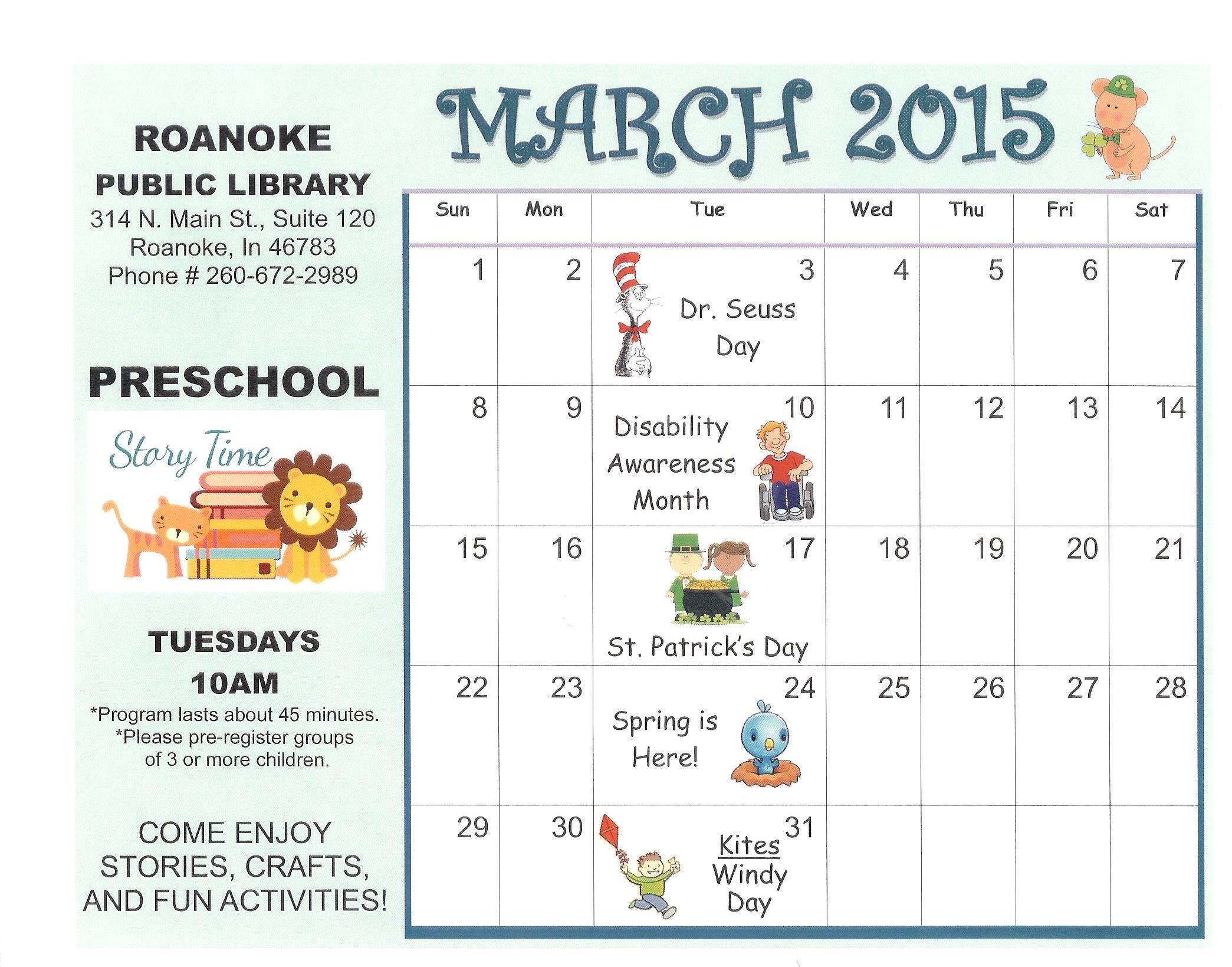Preschool Calendar : March coloring calendar page search results