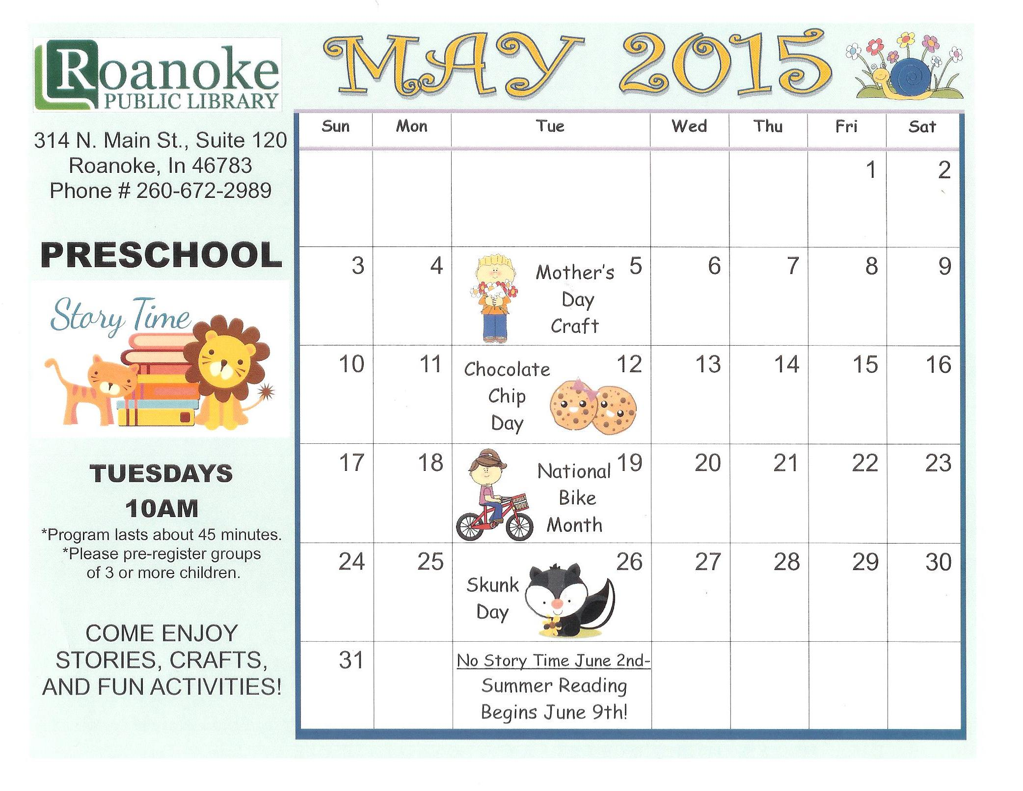 May Calendar Preschool : Roanoke public library your small town doing big