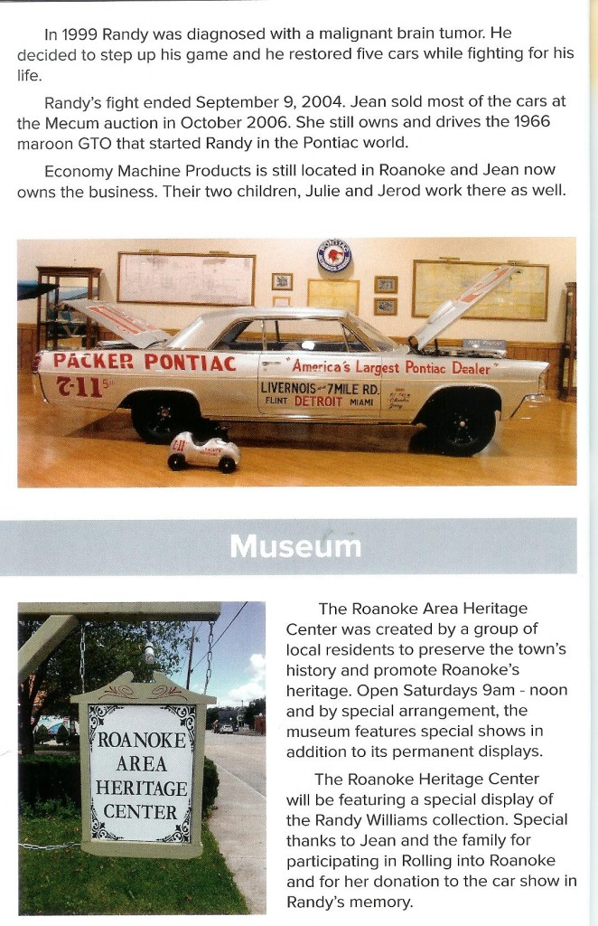 A scanned page for the Rolling into Roanoke brochure featuring Randy Williams cont'd & Roanoke Area Heritage Center (museum)