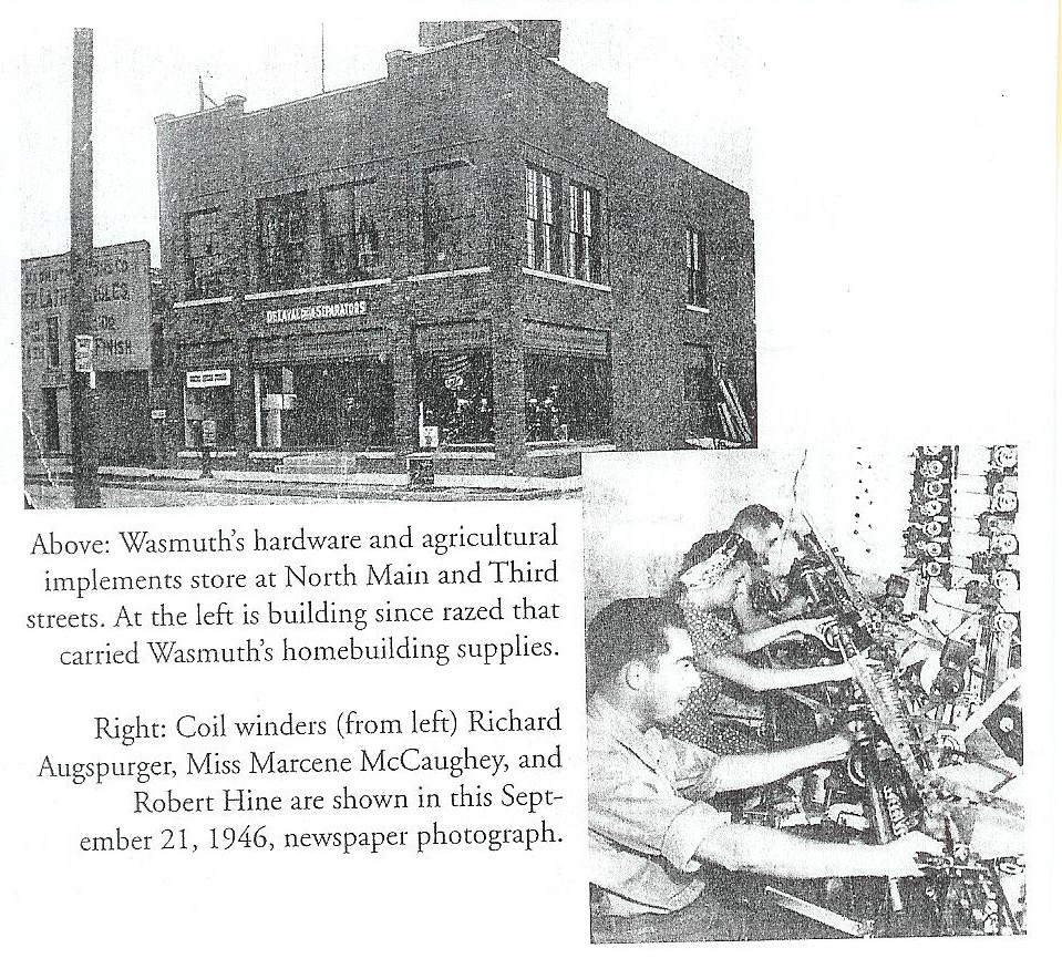 A scanned page from Eshelman book showing Wasmuth building and coil factory workers along with description.