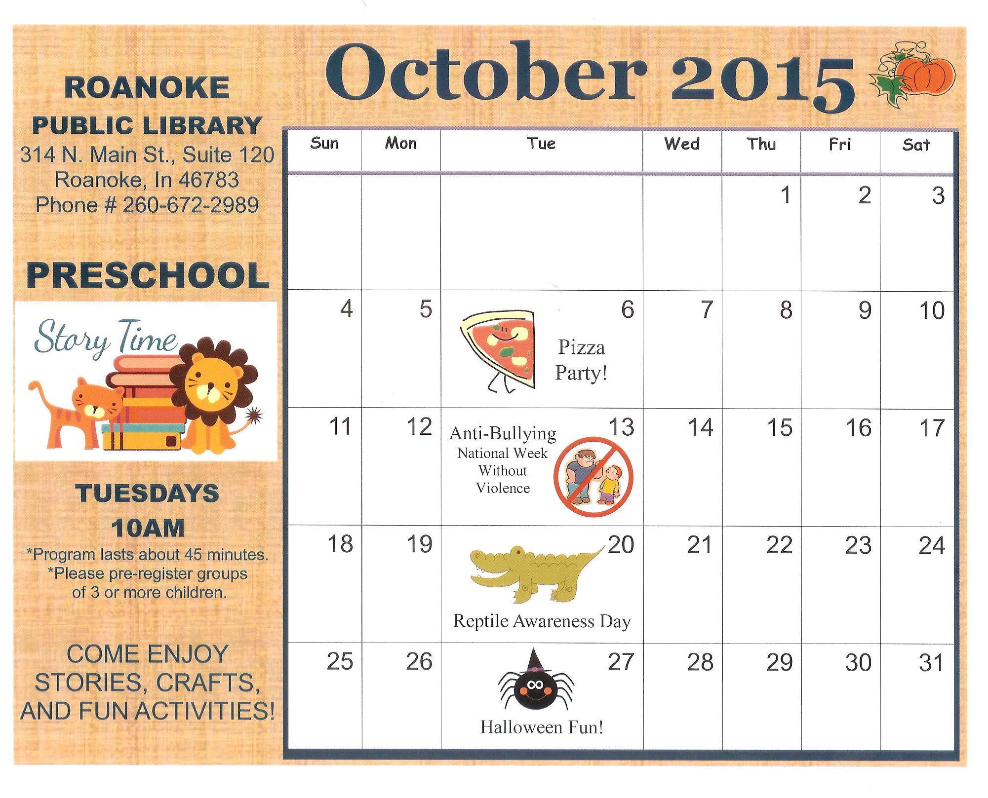 October Calendar Ideas For Preschool : Preschool story time october children with student cards