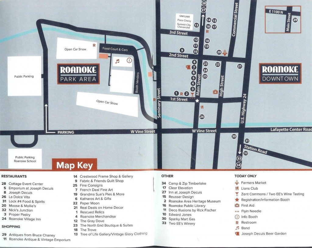 Map of Roanoke with major attractions numbered and more information shown in map key
