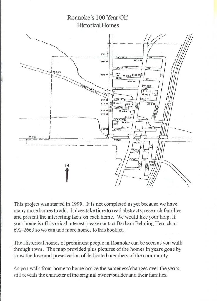 A scanned picture of the map of Roanoke's 100 Year Old Historical Homes with information about the project of preserve the information.