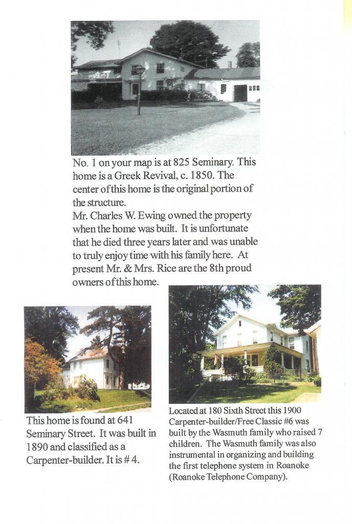 A scanned picture of historic Roanoke homes page 1 (3 homes included)