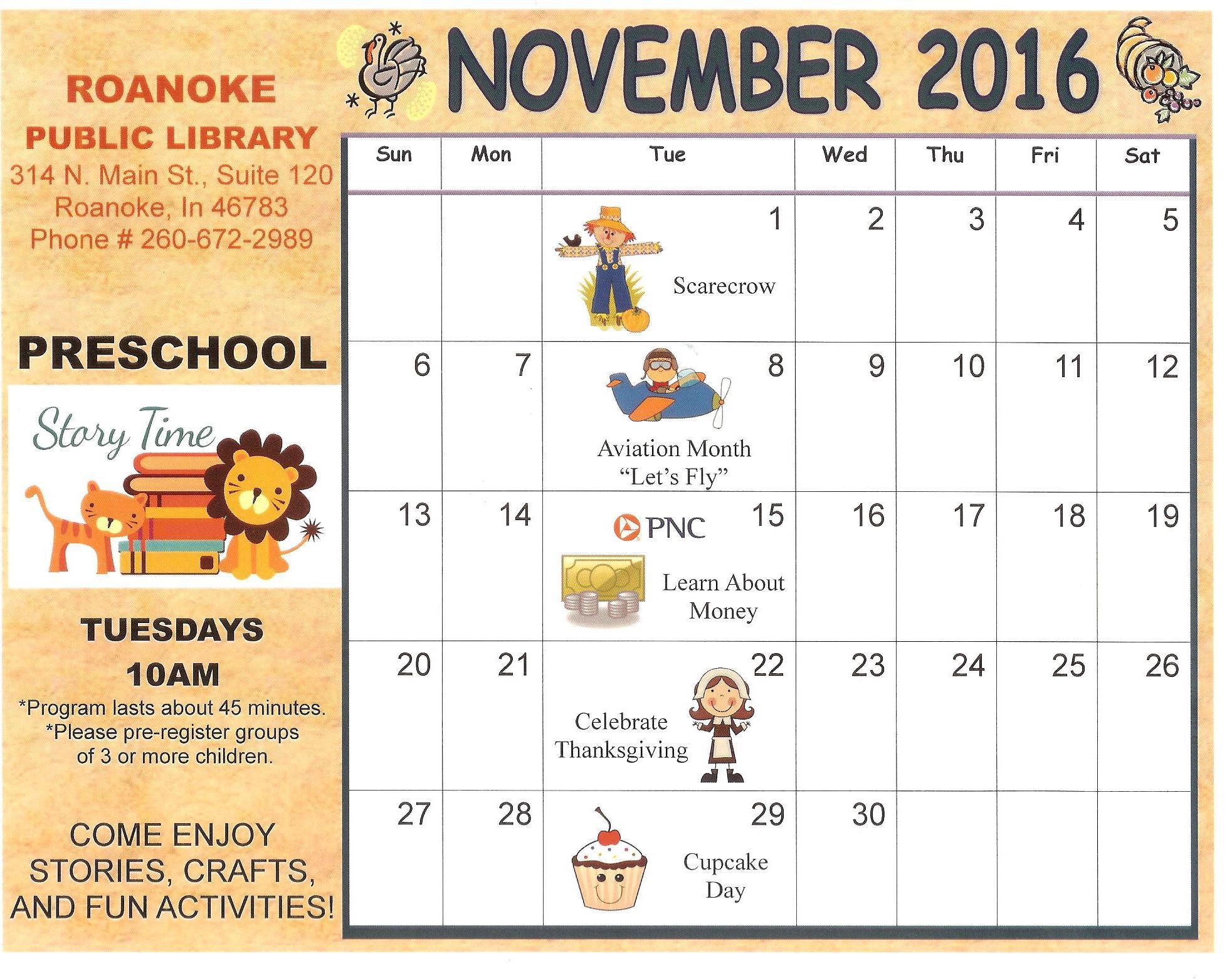 November Kindergarten Calendar : Personnel policy roanoke public library