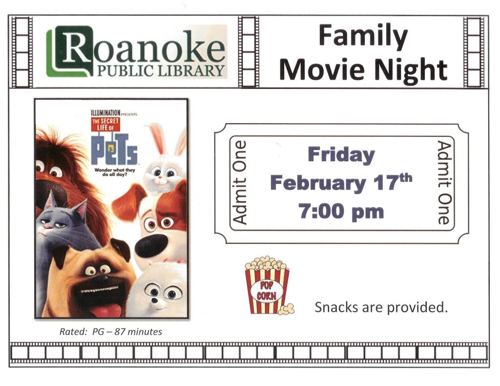 "Family Movie Night Feb. 17, 2017 ""Secret Life of Pets"" at 7:00 pm"
