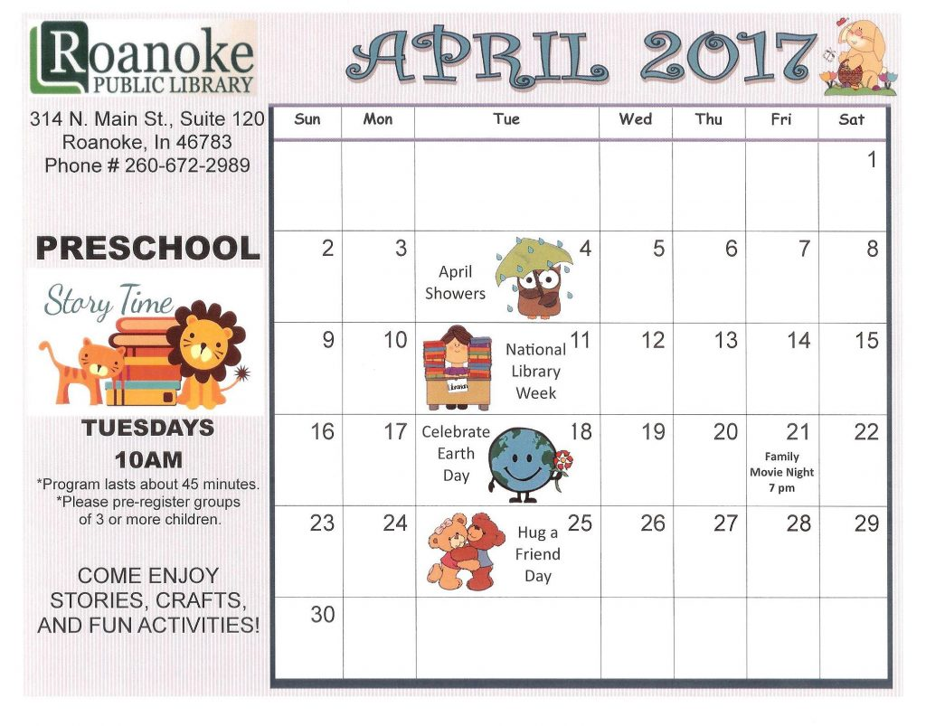 April 2017 Preschool Story Time Calendar