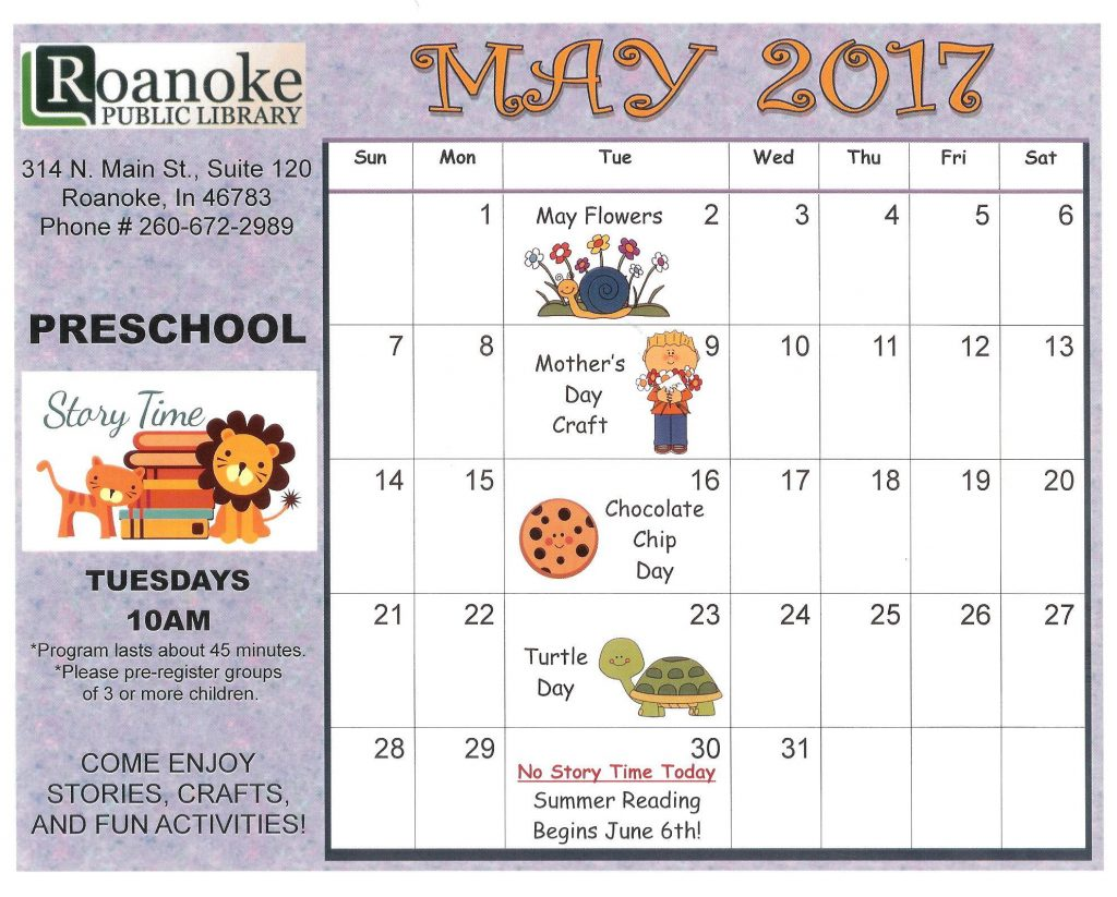 May 2017 Story time calendar on Tuesday at 10 am