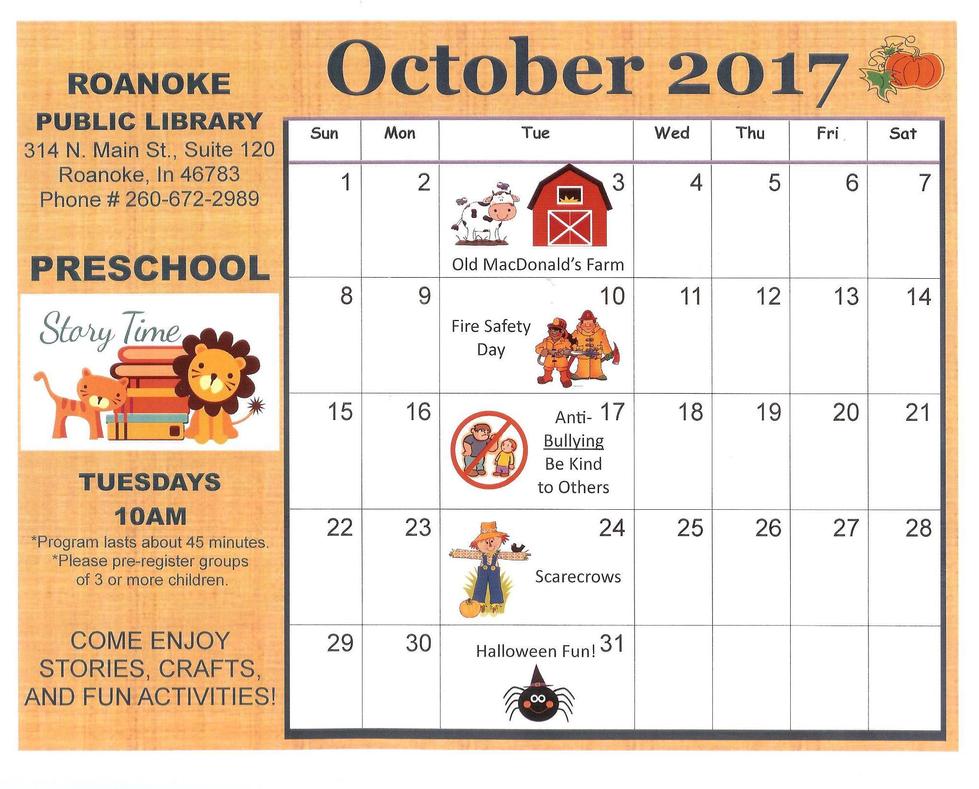 October Calendar Kindergarten : Roanoke public library your small town doing big